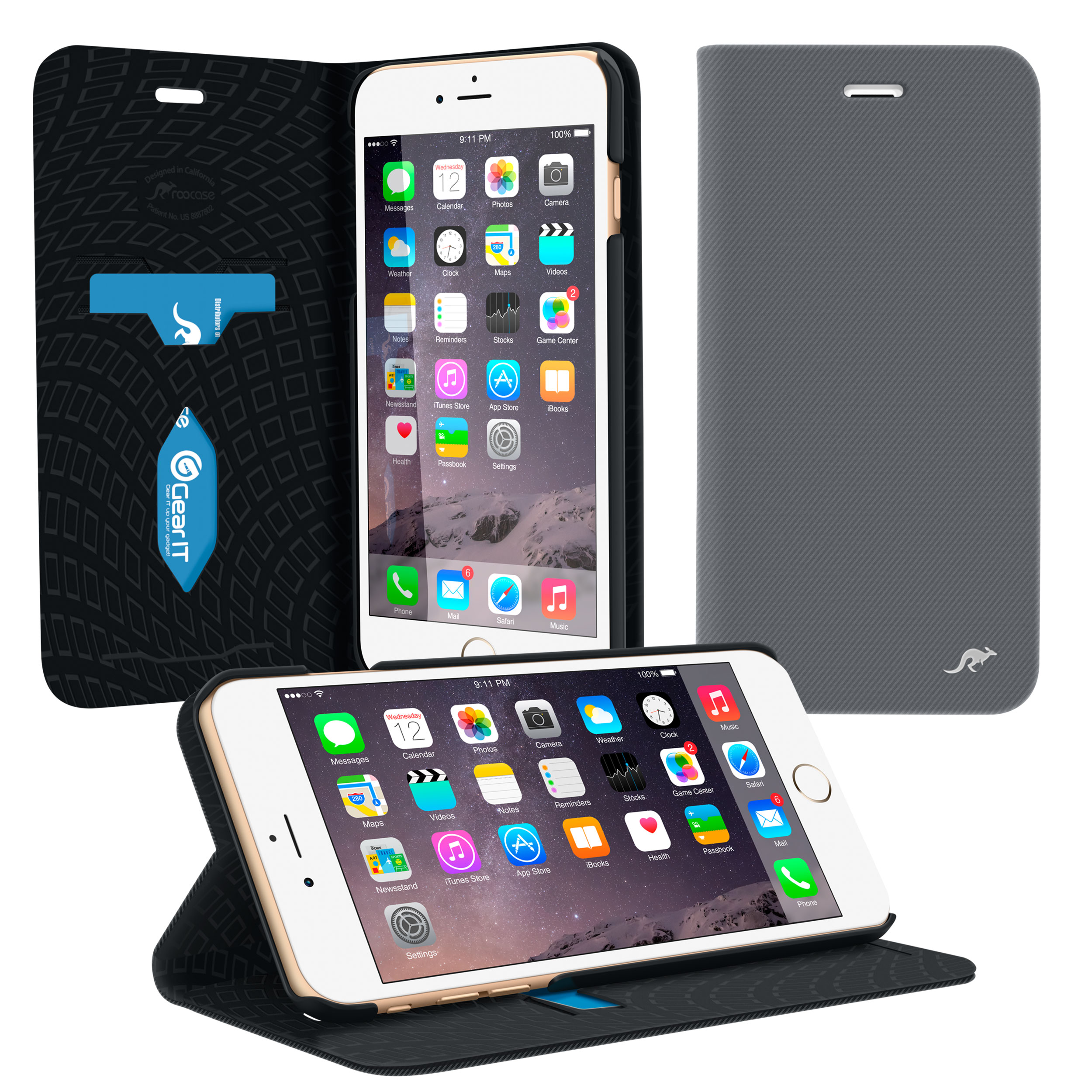 rooCASE iPhone 6s / iPhone 6 Wallet Case, Prestige Premium PU Leather Wallet Folio with Stand Flip Cover and Card ID Holder for Apple iPhone 6 / 6s 4.7