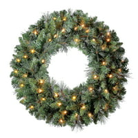 """Holiday Time Pre-Lit Scottsdale Artificial Christmas Wreath, 24"""", Clear Lights"""