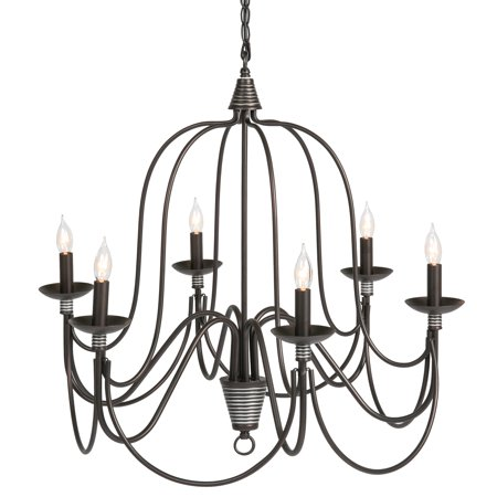 Best Choice Products 25in 6-Light Candle Chandelier Hanging Lighting Fixture for Living Room, Kitchen, Foyer w/ 41in Chain - Bronze