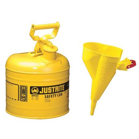 JUSTRITE 7120210 2 gal. Yellow Galvanized Steel Type I Safety Can, For Diesel