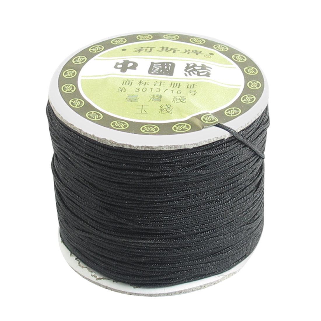 Unique Bargains 1mm Bracelet Braided Rope Nylon Black Rat Tail Cord 150 Meters