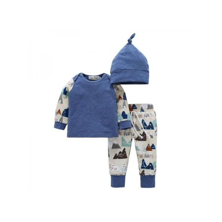 Borg Outfit (Sweetsmile New Born Baby Cotton Long Sleeve Set 3PCS Baby Outfit Tops+Pants+Hat Set)