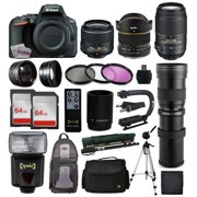 Nikon D5500 DSLR Digital Camera 18-55mm Lens + 6.5mm f/3.5 Fisheye Lens + 55-300mm VR Lens + 420-1600mm f/8.3 HD Telephoto Lens + 128GB Memory + Filters + Flash + Backpack + Case + Tripod + Monopod