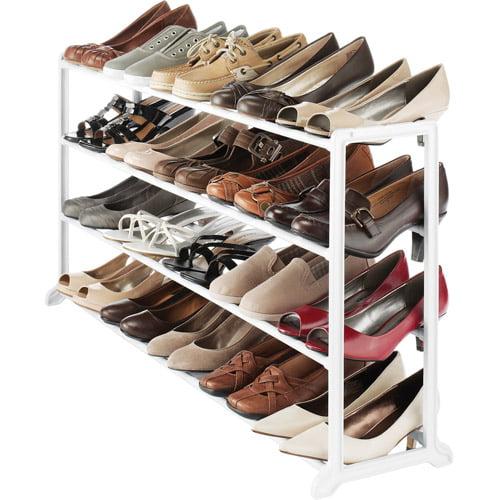 Whitmor Floor Shoe Stand, White, 20-Pair