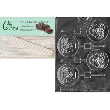 Cybrtrayd 45St25-H071 Monster Lolly Halloween Chocolate Candy Mold with 25 4.5-Inch Lollipop Sticks - Monster Candy