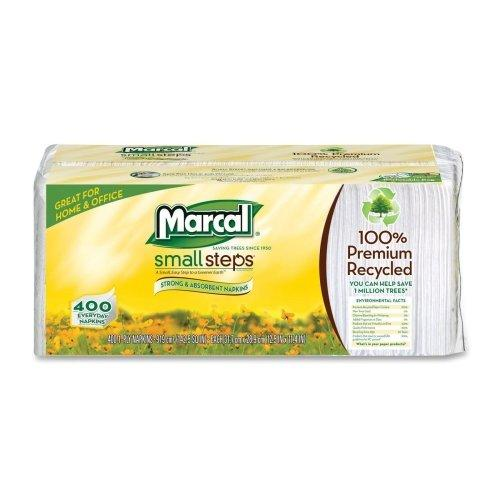 """Marcal Small Steps Recycled Luncheon Napkin - 1 Ply - 400 Per Pack - 2400 / Carton - 12.50"""" X 11.25"""" - White (6506CT)"""