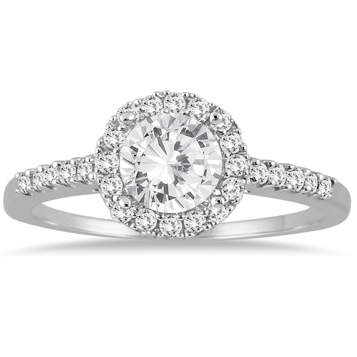 1 Carat T.W Diamond Halo Engagement Ring in 10K White Gold