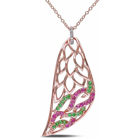 5/8 Carat T.G.W. Tsavorite and Pink Tourmaline with Diamond Accent Rose Rhodium-Plated Sterling Silver Fashion Pendant, 18