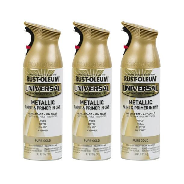 3 Pack Rust Oleum Universal All Surface Metallic Pure Gold Spray Paint And Primer In 1 11 Oz Walmart Com Walmart Com