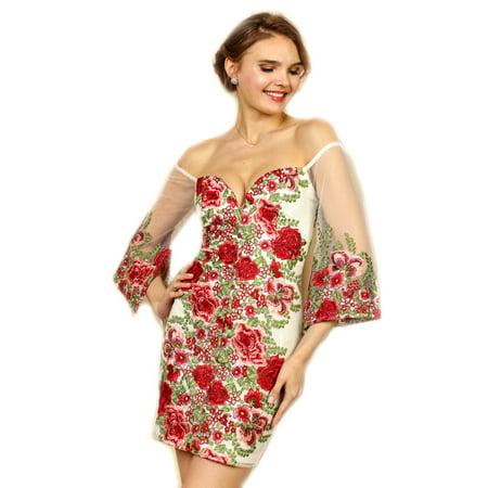 f86a548828218 Crazy4Bling - Soieblu, Ivory & Red Floral Embroidered Off-the-Shoulder Mini  Short Dress, Medium - Walmart.com