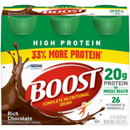 Boost High Protein Complete Nutritional Drink, Rich Chocolate, 8 fl oz Bottle, 6 (Cheap High Calorie Foods For Gaining Weight)