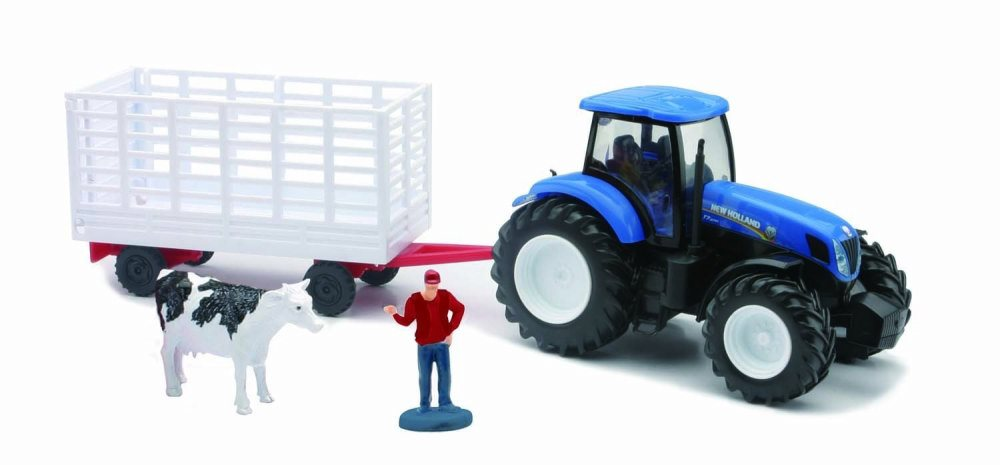 New Holland T7000 Tractor w  Animal Hauler, Blue & White New Ray 05675C 1 32 Scale Model... by New Ray