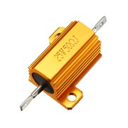 25W 50 Ohm Aluminium Housing Chassis Mount Wirewound Power Resistors Gold 1pcs