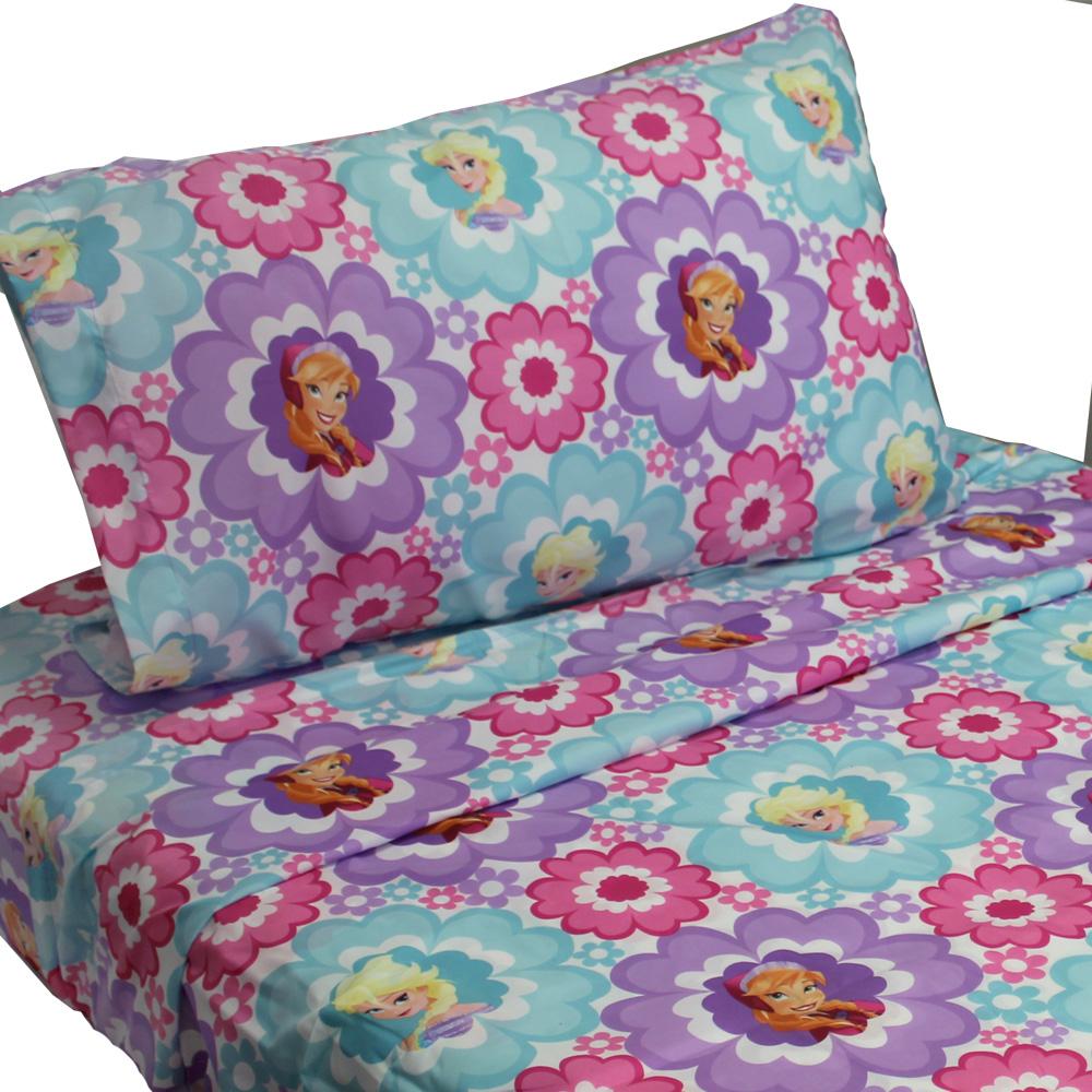 3 piezas Disney congelado hoja de cama Twin Set Ana y Elsa lecho Floral accesorios + Disney en Veo y Compro