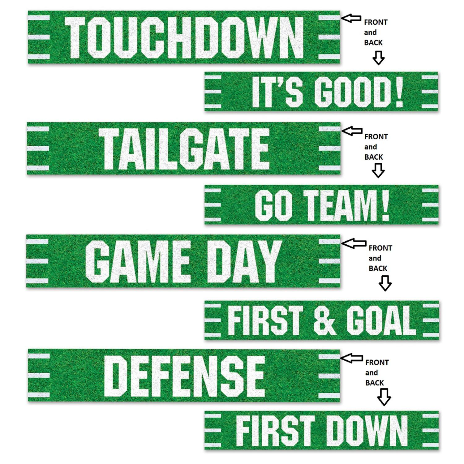 """Club Pack of 48 Green and White Game Day Football Street Sign Cutout Sports Party Decorations 24"""""""