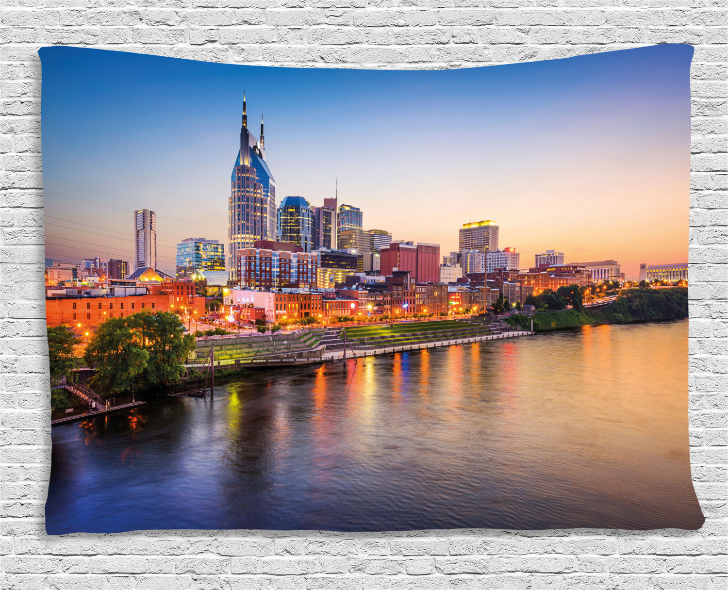 United States Tapestry Cumberland River Nashville Tennessee Evening Architecture Travel Destination Wall Hanging For Bedroom Living Room Dorm Decor 80w X 60l Inches Multicolor By Ambesonne Walmart Com Walmart Com