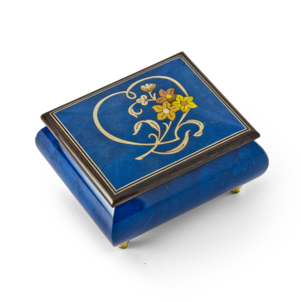 Gorgeous Dark Blue Stain Heart and Floral Wood Inlay Music Box by MusicBoxAttic