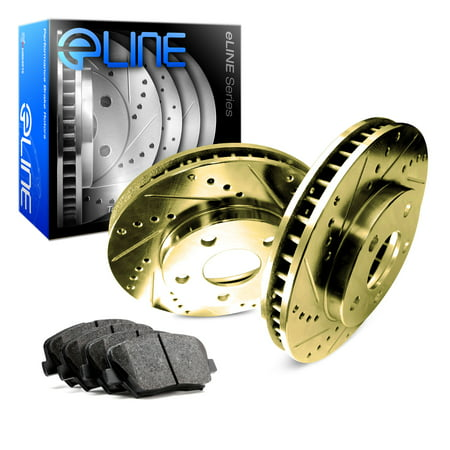 1969 1970 1971 1972 1973 1974 1975 1976 1977 Porsche 911 Front Gold Drilled Slotted Brake Disc Rotors & Ceramic Pad ()