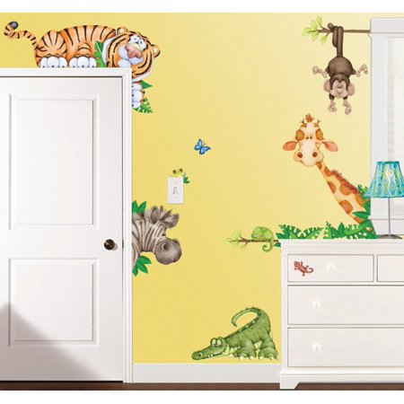 In The Jungle Wildlife Animal Stickers Wall Decals Children Bedroom Decor, Includes 26 Pieces. By Borders