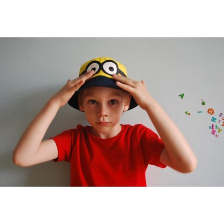 LAMINATED POSTER Minion Red Boy Hands Eyes Looking Thinking Cap Poster Print 24 x 36 - Thinking Cap