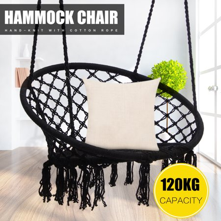 Hanging Hammock Mesh Woven Rope Macrame Wooden Bar Chair Swing + Install Tool Outdoor Home