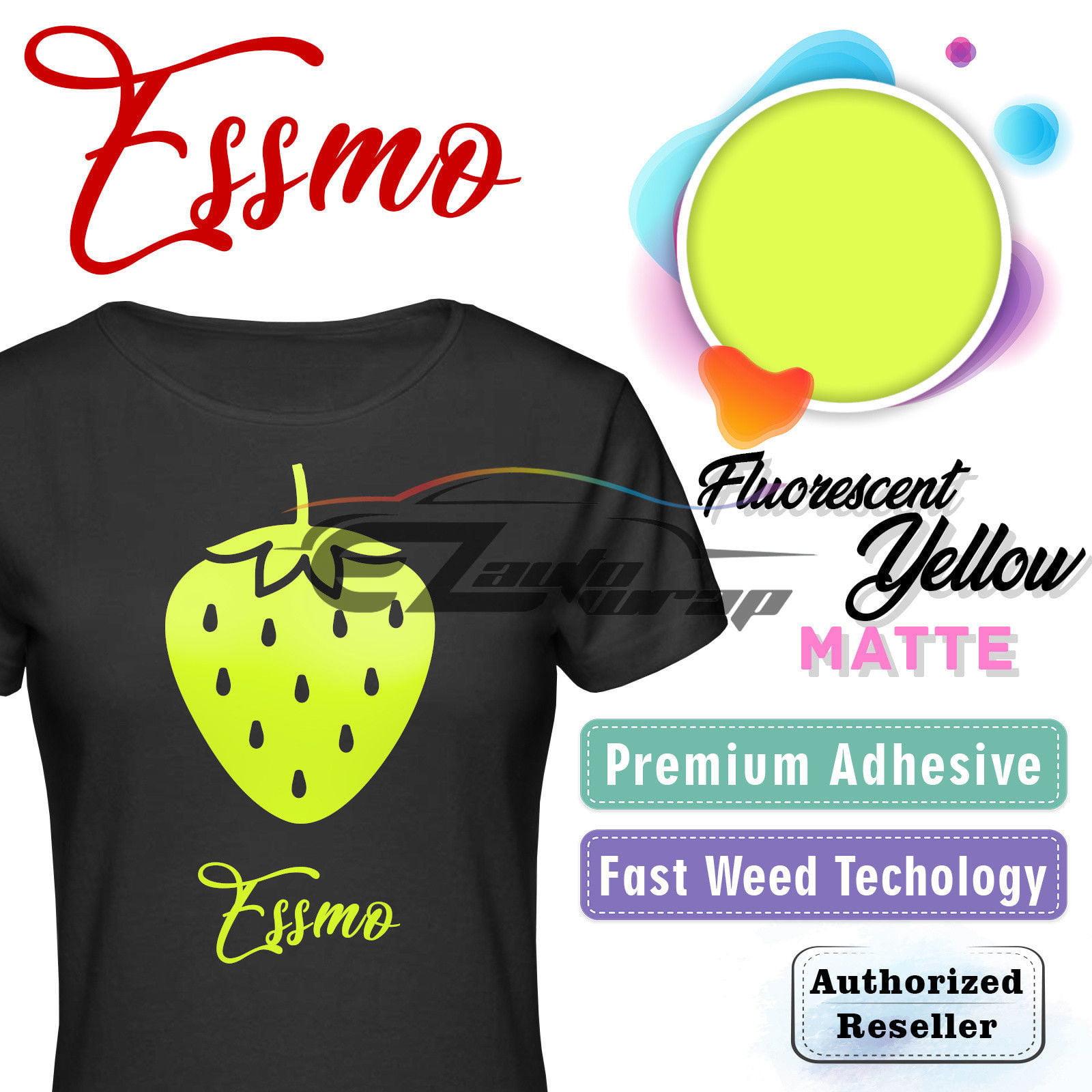"ESSMO Fluorescent Yellow Matte Solid Heat Transfer Vinyl HTV Sheet T-Shirt 20"" Wide Iron On Heat Press 20""x12"""