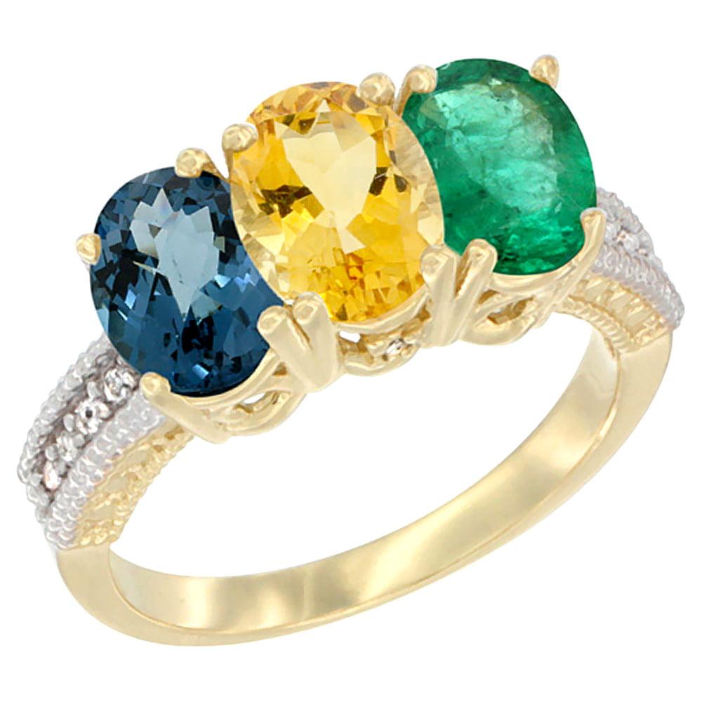 10K Yellow Gold Diamond Natural London Blue Topaz, Citrine & Emerald Ring 3-Stone Oval 7x5 mm, sizes 5 10 by WorldJewels