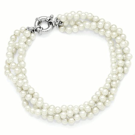 Sterlingmajestik Rh Pl 4 Row 5mm Wht Imitat Sea Shell Mermaid Nautical Jewelry Pearl Twisted Bracel Bracelet Gifts For Women For Her - Nautical Jewelry