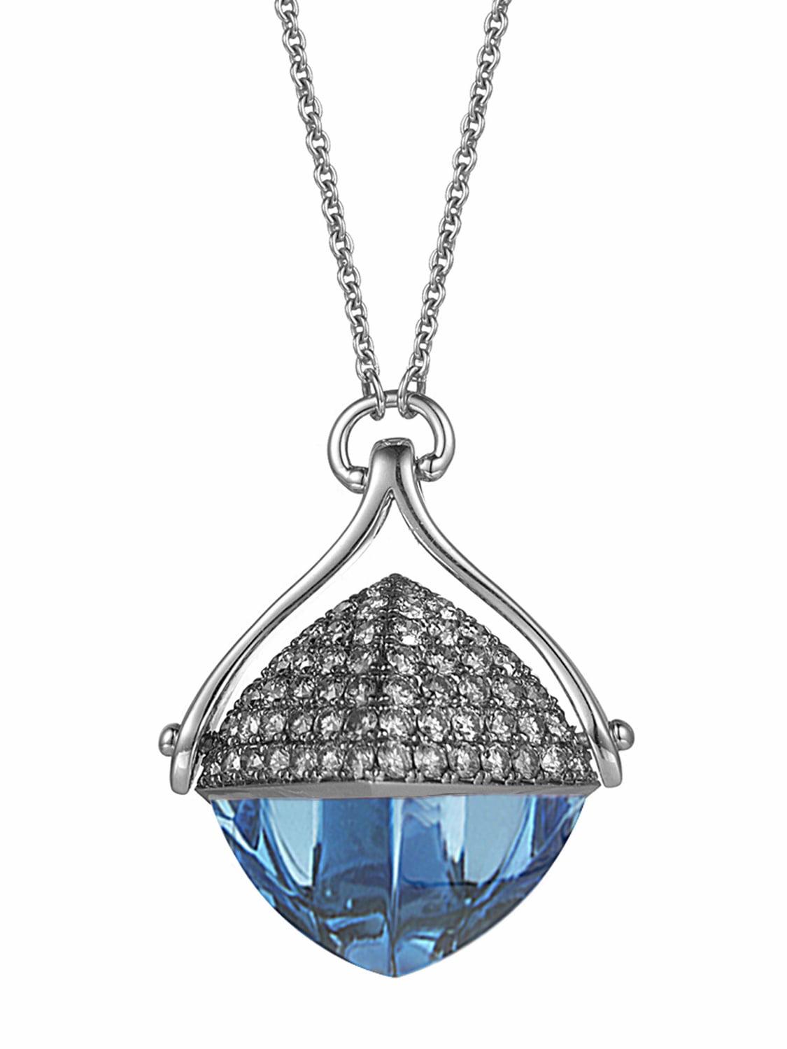 Blue Topaz and Diamond 28-inch Necklace by Ax Jewelry