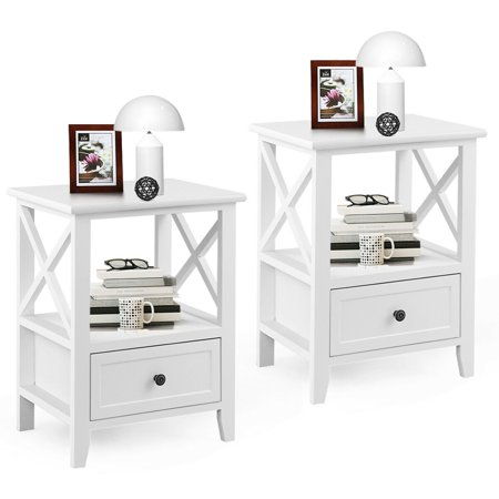 Gymax 2PCS White Nightstand End Side Table Shelf Storage Drawer Room Furniture ()