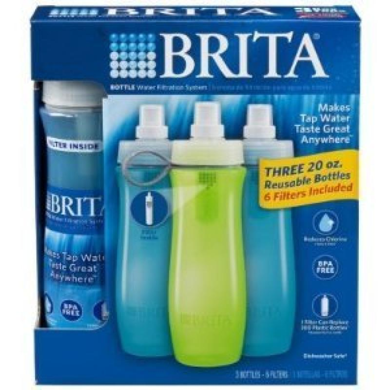 Brita Bottle Water Filtration System ~ Three 20oz Reusable ...