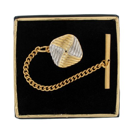 Diamond Set Tie Pin - Two Tone Gold & Silver Tone Square Knot Mens Tie Tac Tack Pin Gift Boxed