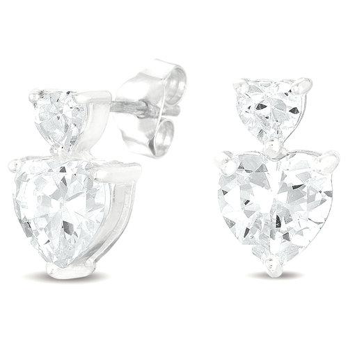 CZ Sterling Silver Dangle Stud Earrings