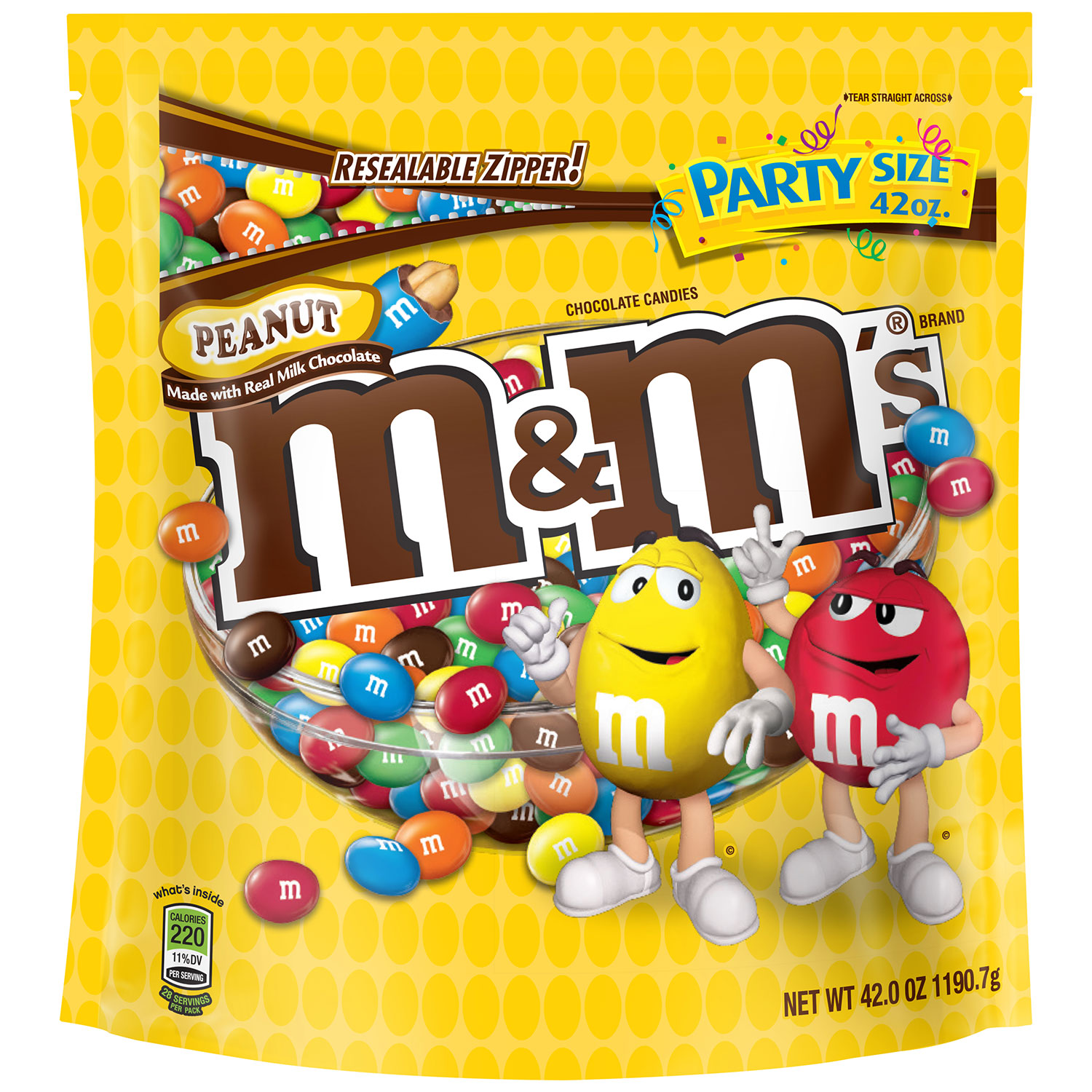 M&M'S Peanut Chocolate Candy Party Size Bag, 42 oz