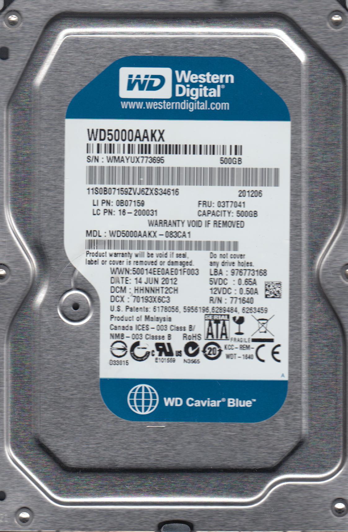 WD5000AAKX-083CA1, DCM HHNNHT2CH, Western Digital 500GB SATA 3.5 Hard Drive by WD