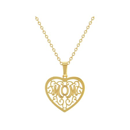 14k Gold Plated Mom Mother Heart Filigree Love Pendant Necklace 19