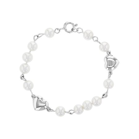 925 Sterling Silver Heart White Simulated Pearl Baby Girl Infant Bracelet 5