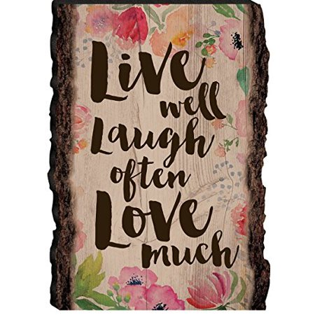 Live Well Plaque (LIVE Well LAUGH Often LOVE Much Wooden Barky Sign 4.25