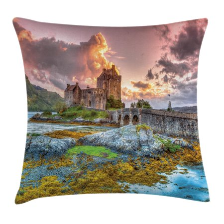 scenery decor throw pillow cushion cover dreamy ancient times middle age inspired princess castle near