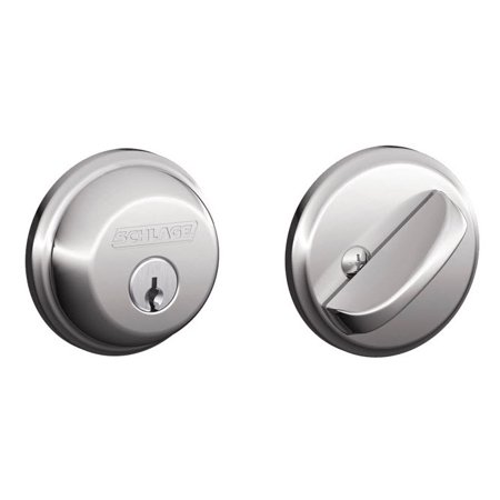 Bronze B Series Single Cylinder - Schlage B60 Polished Chrome Single Cylinder Grade 1 Deadbolt from the B-Series
