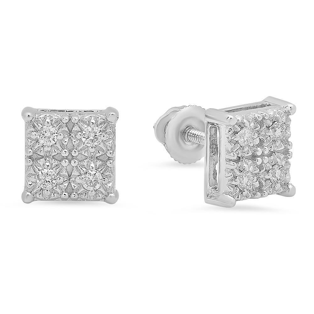 0 15 Carat Ctw 10k White Gold Round White Diamond Ladies Square