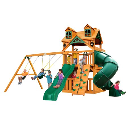 Gorilla Playsets Mountaineer Clubhouse Wooden Swing Set with Malibu Wood Roof, 2 Solar Wall Lights, and Tube Slide