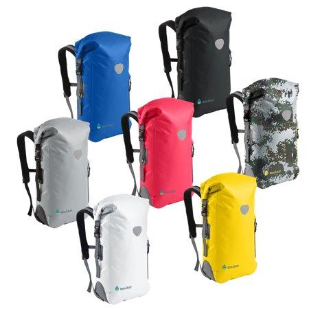 - skog a kust backsak pink waterproof backpack | 500d pvc, 35l, welded seams, reflective trim, padded back support, cushioned adjustable straps, inner zip pocket & splash proof outer zip pocket