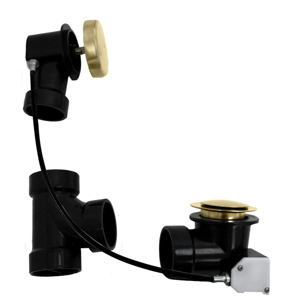 WestBrass D50A27 PVD Polished Brass Sch. 40 ABS 27 in. Cable Drive Bath Waste