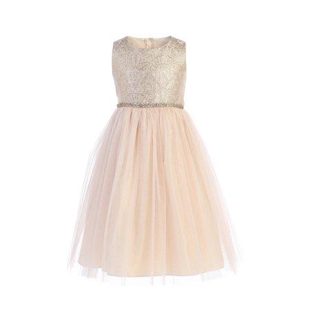 Sweet Kids Little Girls Champagne Brocade Crystal Tulle Christmas Dress