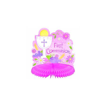 First Communion Pink Honeycomb Table Centerpiece Religious Party Decoration 10