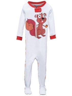 Elowel Little Girls Brown Chipmunk Print Zipper Footed Pajama Sleeper 2-5