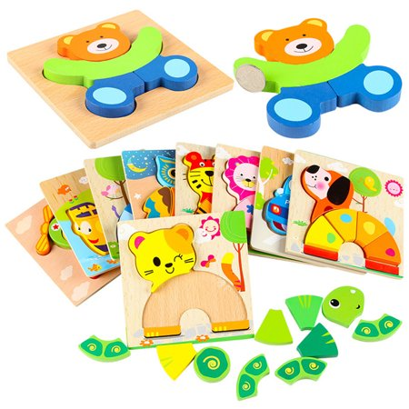 Toddler Kid Educational Wooden Board Block Animal Shape 3D Jigsaw Puzzle Toys