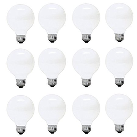 GE Soft White Decorative 60W Incandescent G25 Globe Light Bulbs w/ medium base (12