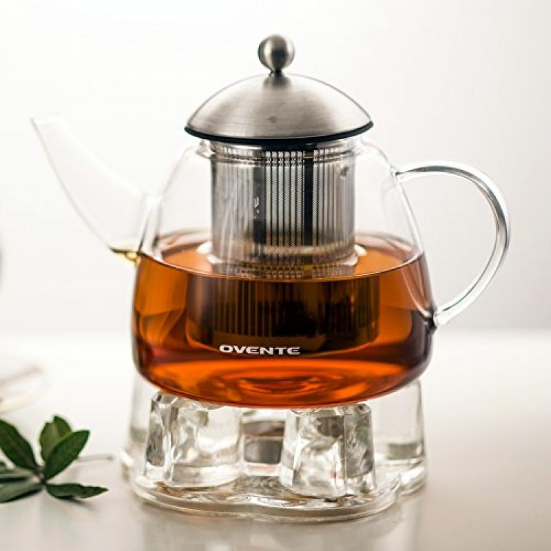 Ovente FGA44T 44oz Heat Tempered Glass Teapot with Tea Infuser and Glass Teapot Warmer